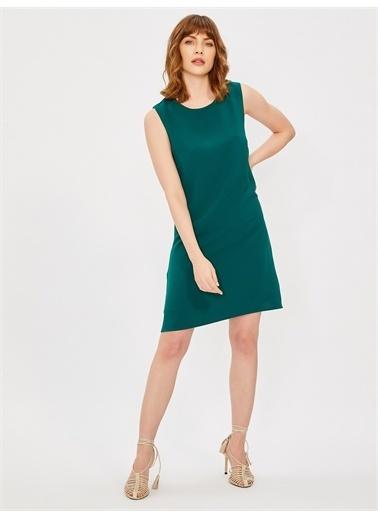 Vekem-Limited Edition Kolsuz Klasik Kesim Krep Elbise Yeşil